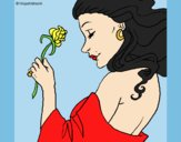 Coloring page Princess with a rose painted byLornaAnia