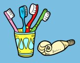 Coloring page Toothbrushes and toothpaste painted byLornaAnia