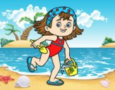 Coloring page Little girl with beach bucket and spade painted byLornaAnia