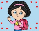 Coloring page School girl painted byLornaAnia