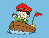 Coloring page Boat and captain painted byLornaAnia
