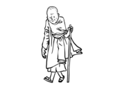 A Buddhist monk coloring page