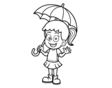 A girl with an umbrella coloring page