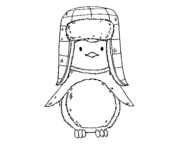 A penguin with cap coloring page