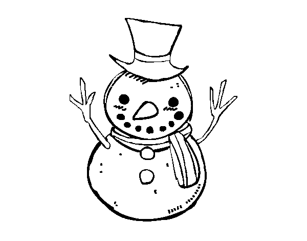 A snowman with hat coloring page