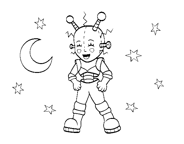 Astronaut robot coloring page