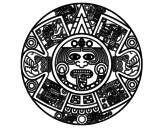 Aztec calendar stone coloring page