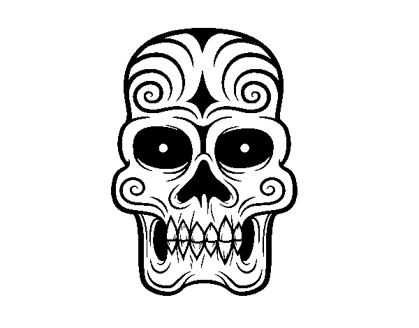 Aztec skull coloring page