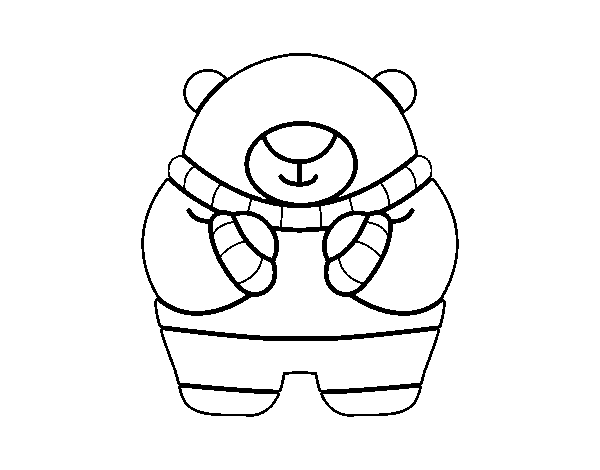 Bear in winter coloring page