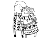Big hug coloring page