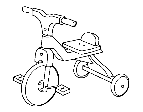 Children tricycle coloring page
