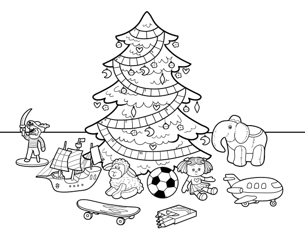 Christmas tree with some toys coloring page - Coloringcrew.com