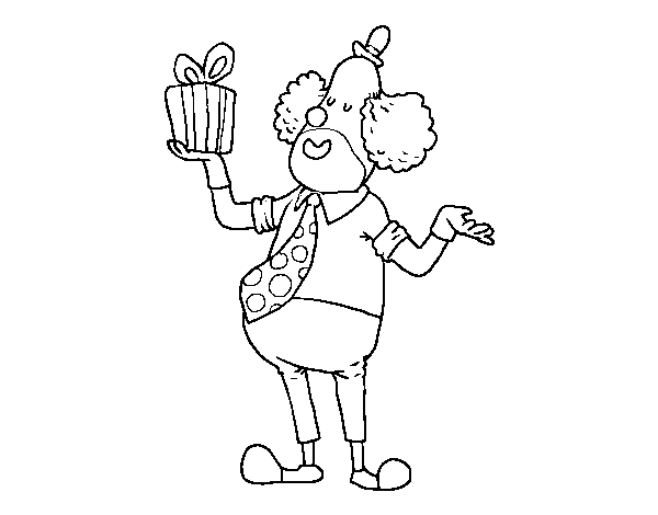 Clown with gift coloring page