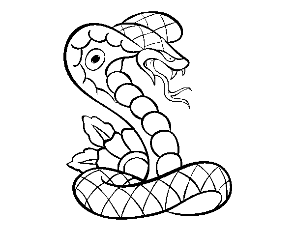 Cobra tattoo coloring page