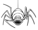 Creepy spider coloring page