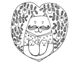 Father cat and children coloring page