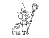 Halloween witch with cat coloring page