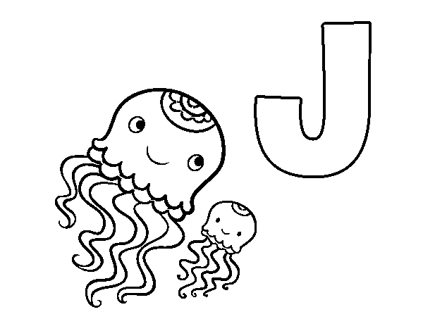 J of Jellyfish coloring page
