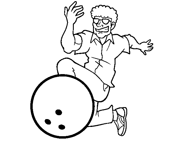 Man bowling coloring page