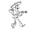 Mariachi with guitar coloring page
