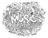 Musical collage coloring page