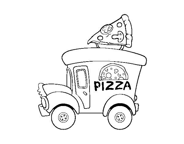 Pizza food truck coloring page