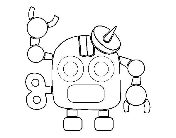 Robot with antenna coloring page