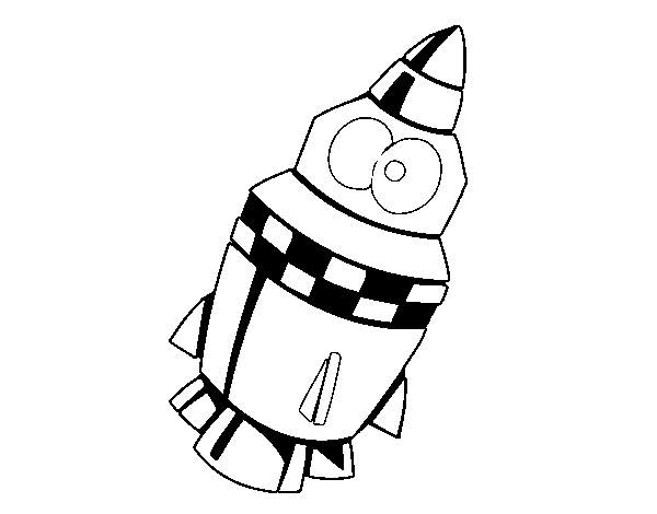 Rocket with eyes coloring page