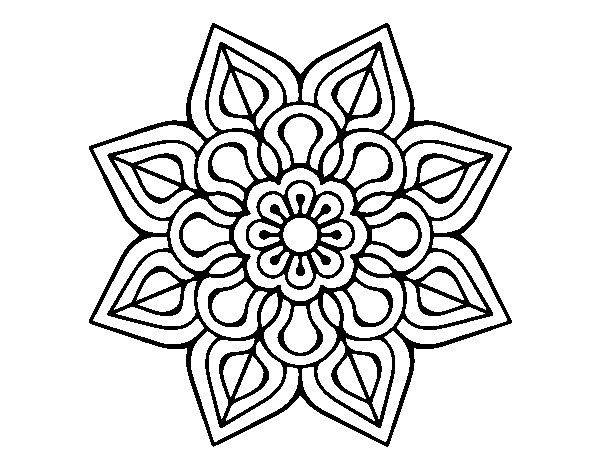 Simple flower mandala coloring page
