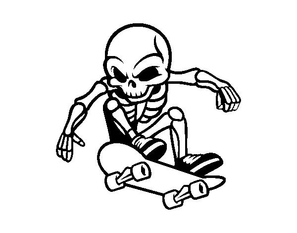 Skater Skeleton coloring page - Coloringcrew.com