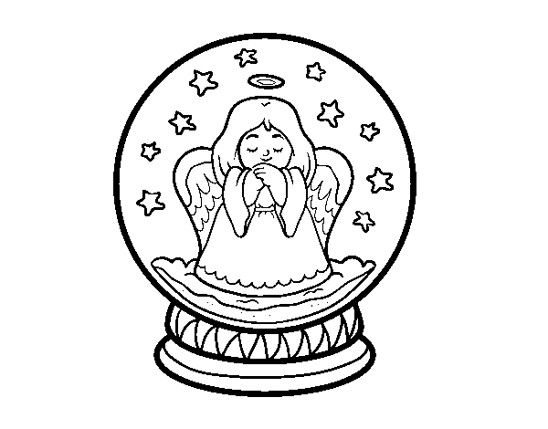 snowball with angel coloring page
