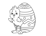 Sympathetic chick with Easter egg coloring page