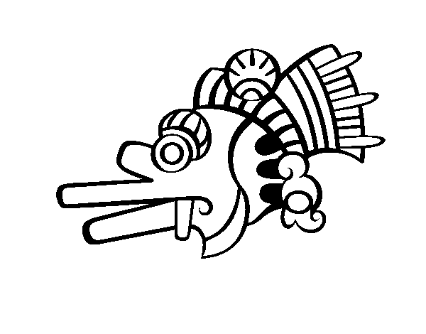 The Aztecs days: the Wind Ehecatl coloring page