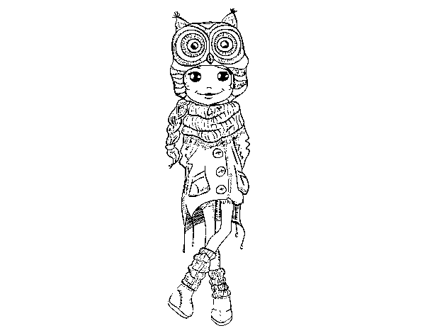 Winter fashion girl coloring page