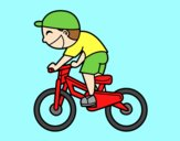 Coloring page Cyclist child painted byAnia