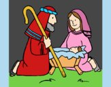 Coloring page Worshipping baby Jesus painted byLornaAnia