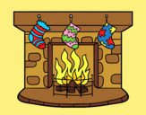 Coloring page Christmas chimney painted byLornaAnia