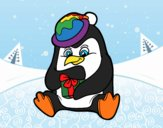 A penguin with Christmas gift